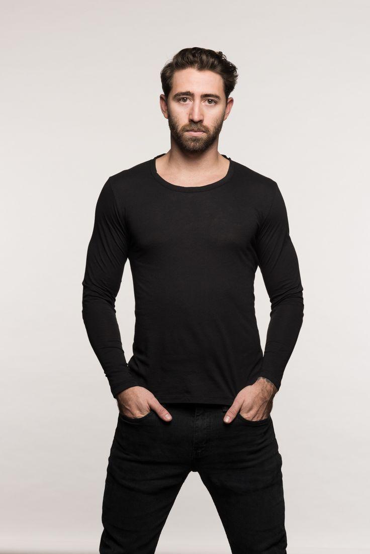 Black t shirt mens - Long Sleeve Crew Neck Black Menshirt