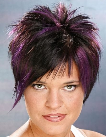 colored hair styles picture of hairstyle with violet highlights on black 8777