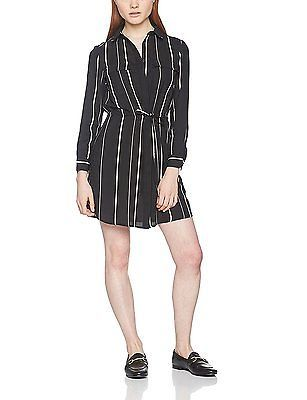 14, Black (Black Pattern), New Look Petite Women's Stripe Tie Sleeve Shirt Dress
