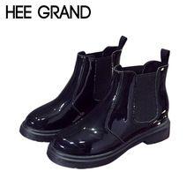 2015 nueva moda mujer botas Vintage botines de charol Slip On plataforma pisos Casual otoño para mujer zapatos de mujer XWX3152(China (Mainland))