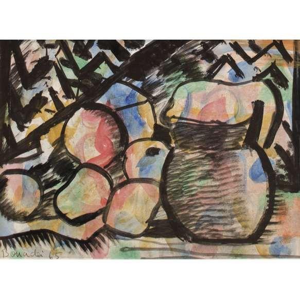 Aldo Bonadei (1906-1974) - Técnica mista sobre cartão - Jarra e frutas - 23 x 32 cm - 1965 - Assinado e datado embaixo à esquerda