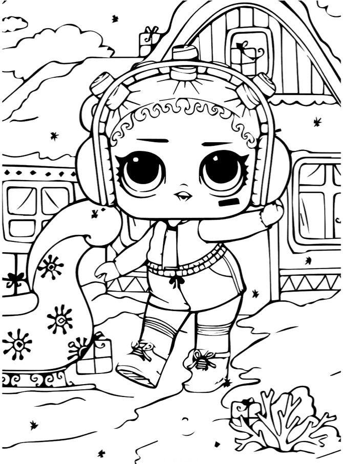 Раскраски «Куклы LOL» - «Кукла ЛОЛ новый год» | Раскраски ...