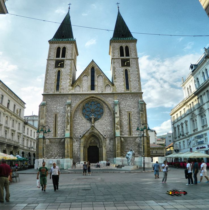 Cathedral of Jesus Heart, Sarajevo, Bosnia and Herzegovina, Nikon Coolpix L310, 5.1mm, 1/500s, ISO 80, f/3.2, panorama mode: segment 2, HDR-Art photography, 201607101712