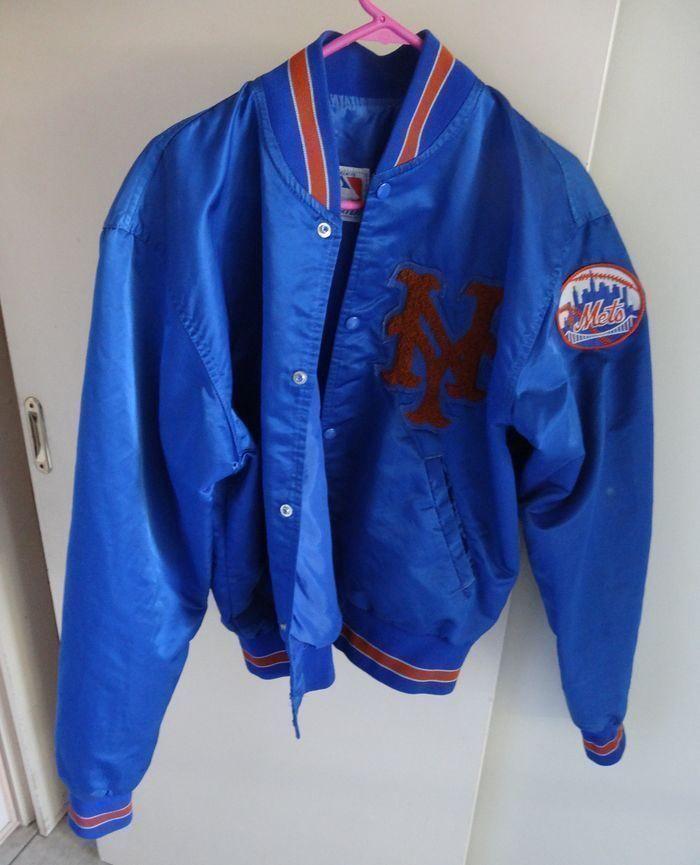 Vintage Starter New York Mets Baseball Jacket / NY Mets Satin Bomber Blue Orange #Starter #NewYorkMets