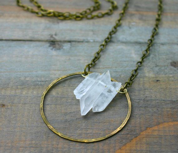 Triple Quartz Point and Brass Circle Necklace by xVELVETx on Etsy, $34.00
