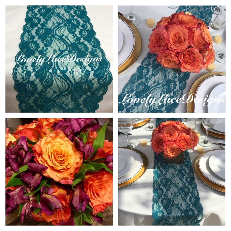 "Fall Decor TEAL/GREEN Lace Table Runner, 3ft to 10ft long x 7"" wide/ Wedding Decor/PEACOCK weddings/ teal overlay/fall finds/Weddings/Autumn by LovelyLaceDesigns on Etsy"