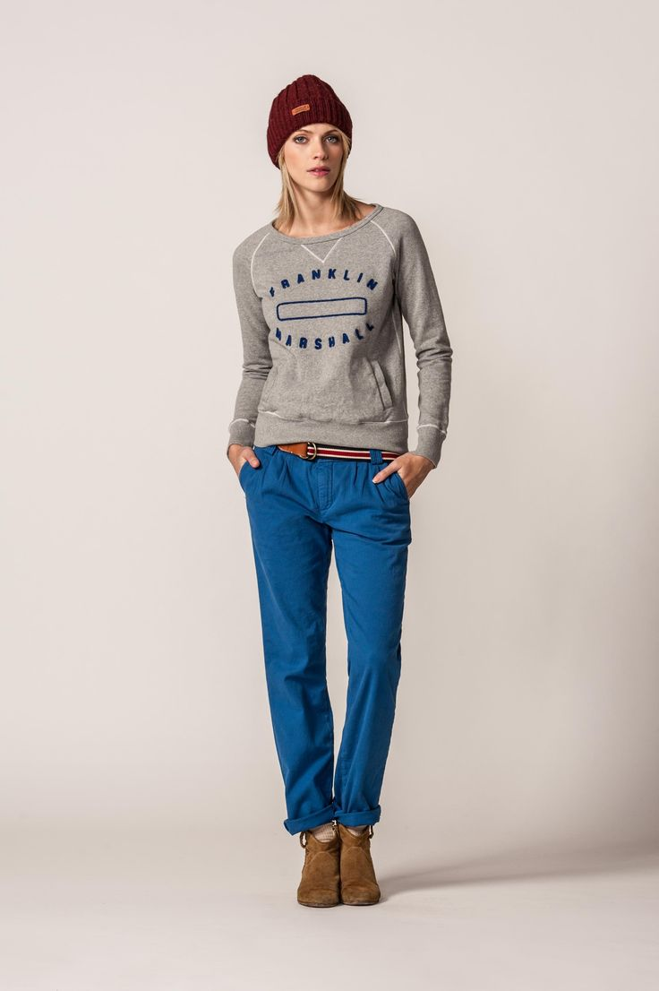 #franklinandmarshall #FW13 We suggest you to wear this blue classic fit chino, this easy sweatshirt with the F beanie.