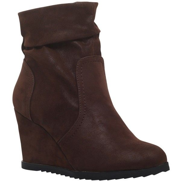Miss KG Sion Wedge Heeled Ankle Boots, Brown ($56) ❤ liked on Polyvore featuring shoes, boots, ankle booties, wedge booties, slouch ankle boots, ankle boots, brown suede booties and brown booties