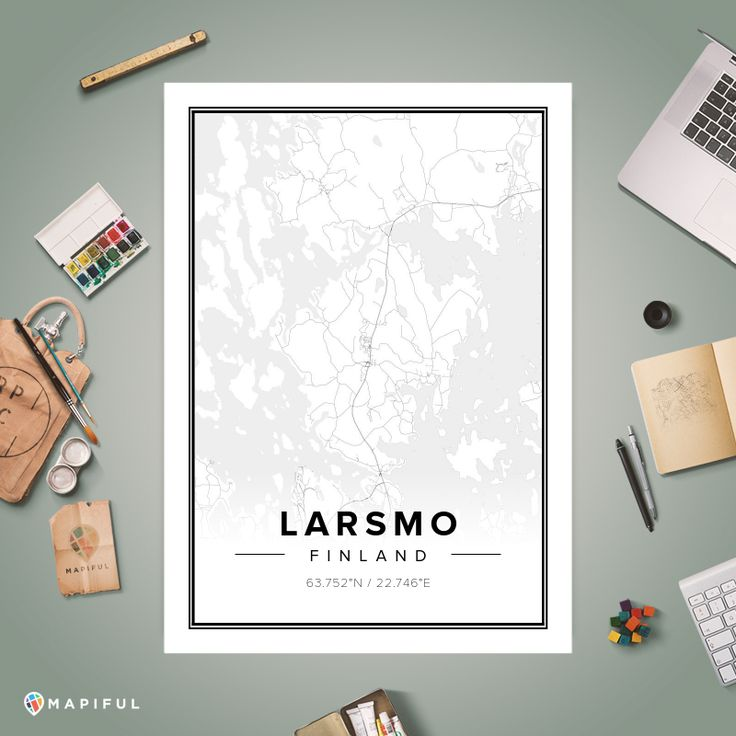 A map poster from Mapiful.com. A creative DIY tool to make your own map poster. This is 'Larsmo'