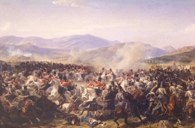 Charge of the Heavy Brigade during the Battle of Balaclava 25th October 1854 by Felix Philippoteaux. The Scots Greys are shown charging into the Russian cavalry amongst the The Scots Greys can be seen the regimental butcher who joined the action. This charge made up for the disastrous charge of the Light Brigade.