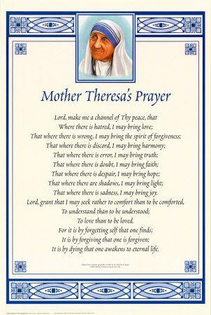 best blessed mother teresa images mother teresa  mother teresa s version of saint francis s prayer