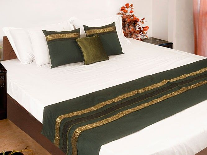 Single Bed Runner-Creative-Green/Olive - Designer Bed Runner Set - Bedding Bianca Home Decore