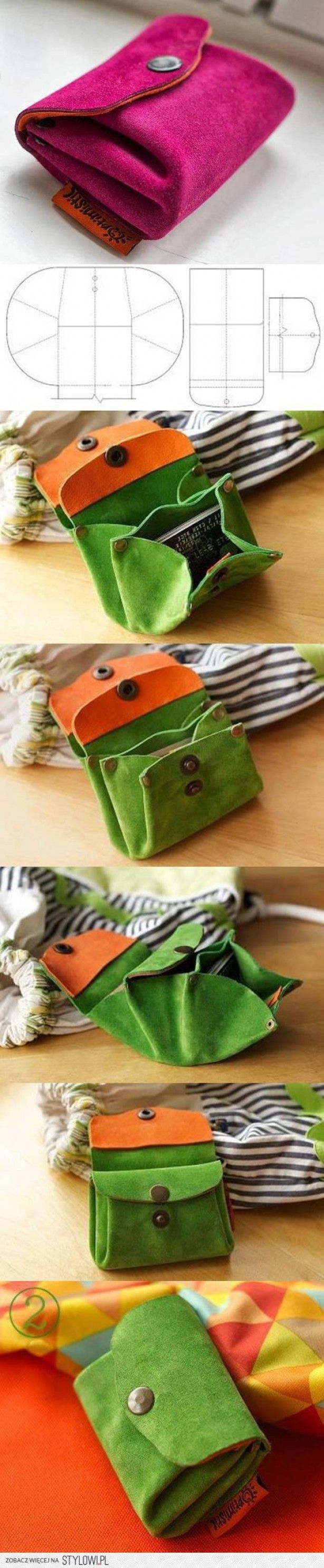 Make your own purse - seems to just link to the image, but the idea should be easy enough to follow.