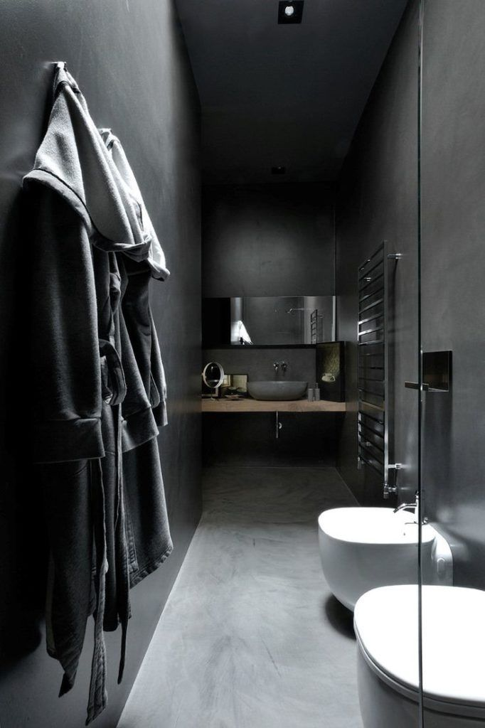 Come Arredare Un Bagno Moderno Grigio Scuro Idee E Rivestimenti Originali Bagni Moderni Bagno In Cemento Stile Bagno
