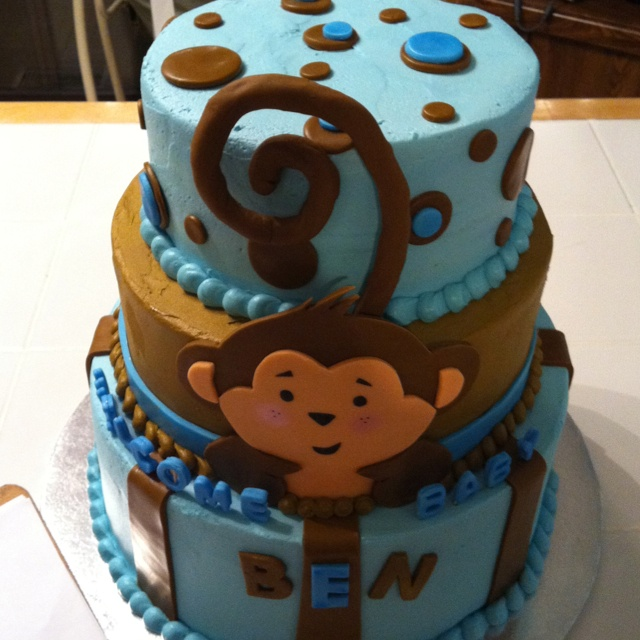 Baby shower monkey cake baby pinterest birthday cakes love it and birthdays - Monkey baby shower cakes for boys ...
