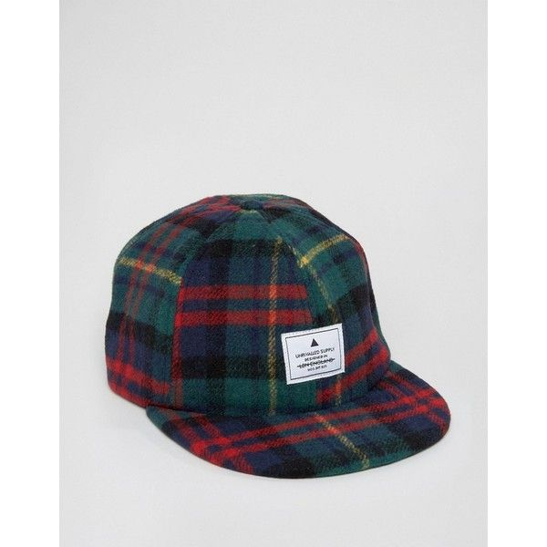 ASOS Vintage Baseball Cap In Flannel Check ($9.00) ❤ liked on Polyvore featuring men's fashion, men's accessories, men's hats, green, mens caps and hats, vintage mens accessories and vintage mens hats
