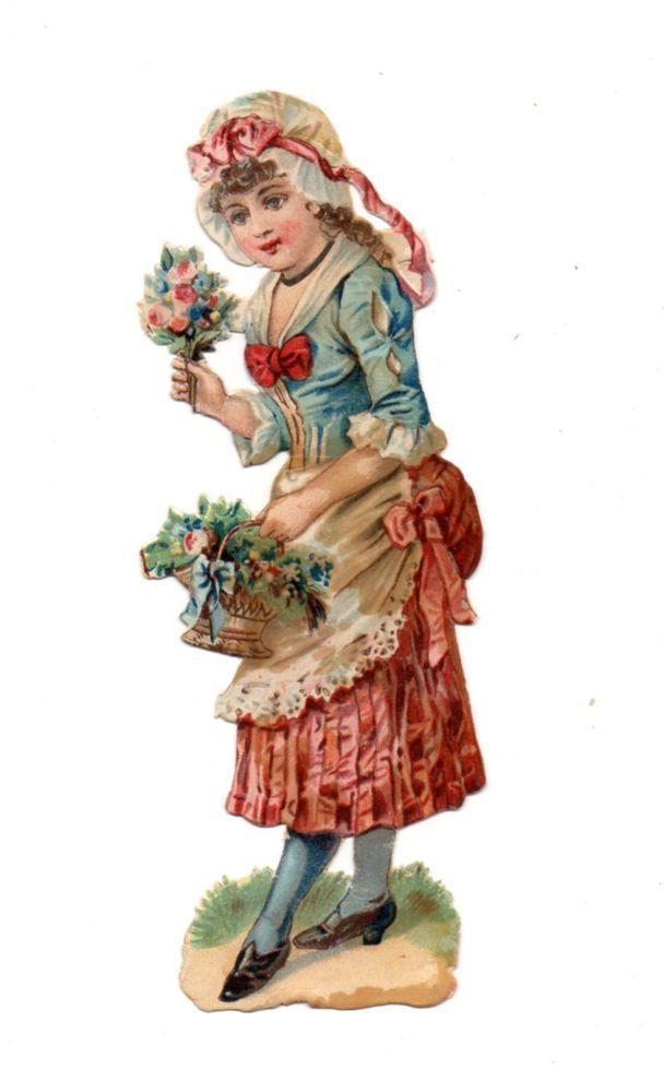Alte Oblate Glanzbilder Scraps Mädchen Blumen 14cm...