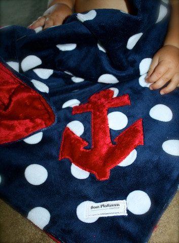 Nautical Minky Blanket... Anchors Away. $48.00, via Etsy.