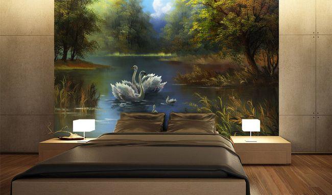 décoration murale papier peint personnalisé tapissérie numérique sur mesure paysage fantaisie romantique la famille de cygne sur lac