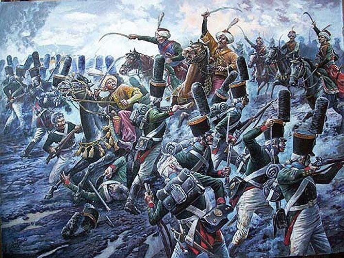 Alexander Yezhov - Austerlitz, Mammalucchi caricano il reggimento russo Leibgvardiya Semyenovski
