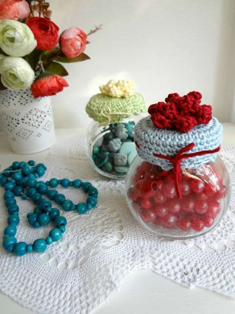 ... Crochet - Jar Lid Cover on Pinterest Jar Lids, Haken and Jam Jar