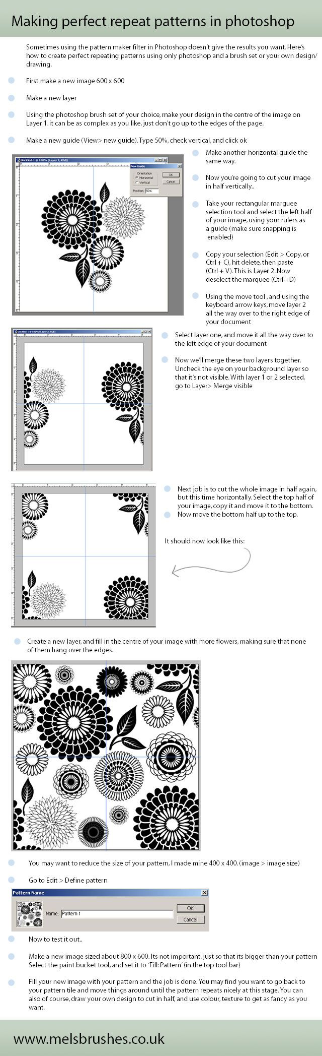Repeat patterns in Photoshop Tutorial by Mel. Actually, there is an easier way to do this; here is the updated tutorial: http://www.melsbrushes.co.uk/?p=276 #photoshop