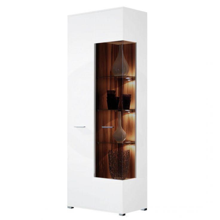 Vitrine Vogue groß - - mit 2 Türen - Nussbaum  - Weiß Hochglanz