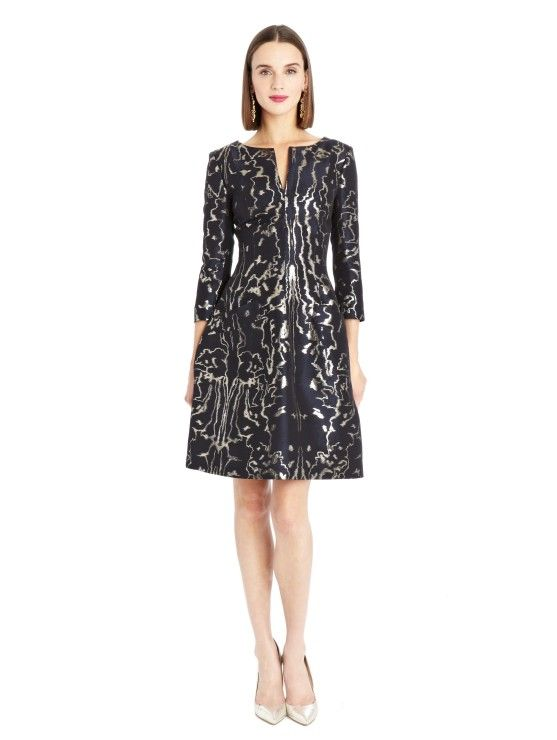 Lurex Moire Faille Dress - Oscar de LaRenta