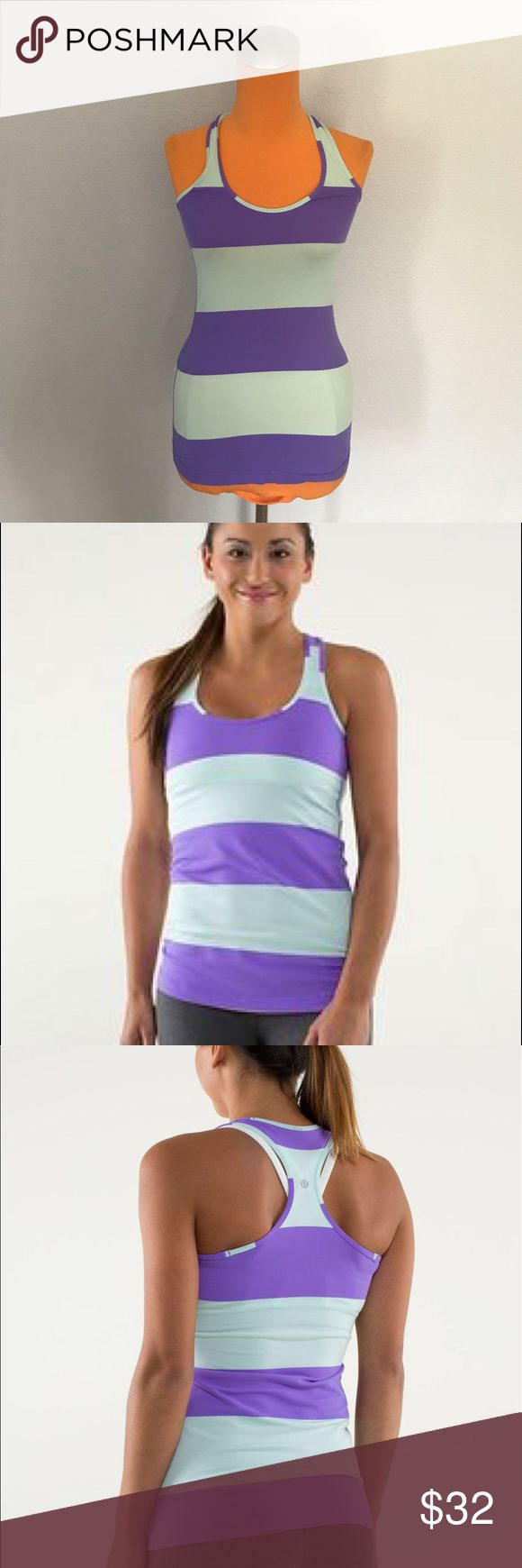 "Lululemon Bold Stripe Power Purple Cool Racerback 26"" length 12.5"" armpit to armpit. Is perfect for yoga, running or training. Is in the bold stripe power purple color. Light blue and purple coloring. Excellent condition. Size tag missing see measurements is between a 2/4. Bundle 2+ items for a discount. lululemon athletica Tops Tank Tops"