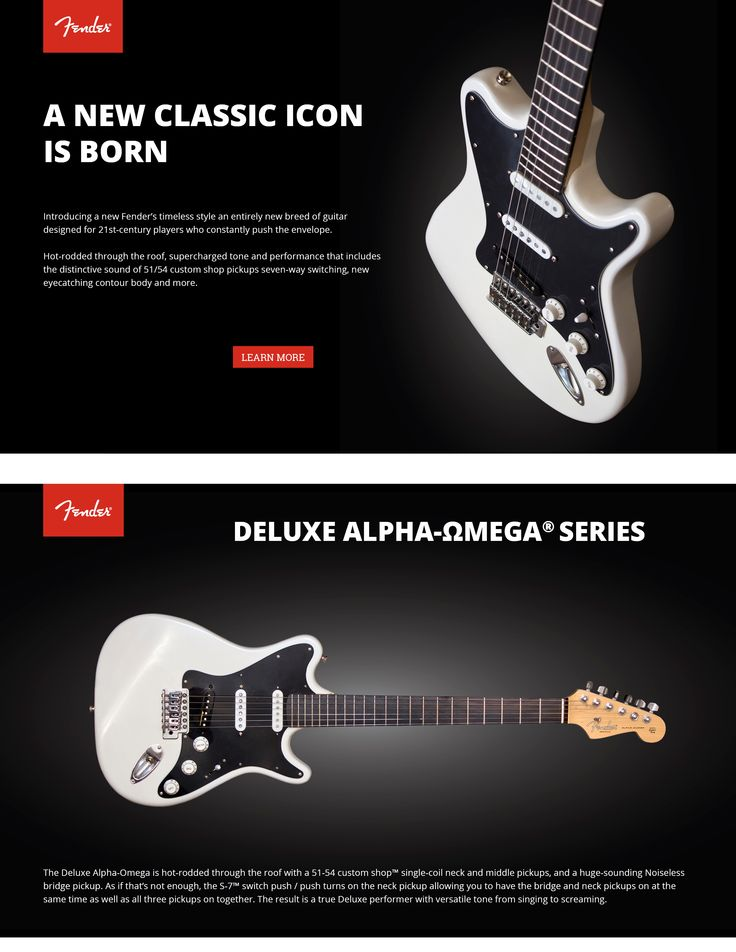 Introducing a new Fender's timeless style an entirely new custom guitar designed for 21st-century players who constantly push the envelope.  https://www.behance.net/gallery/37450627/New-Fender-Alpha-Omega-Guitar-Design