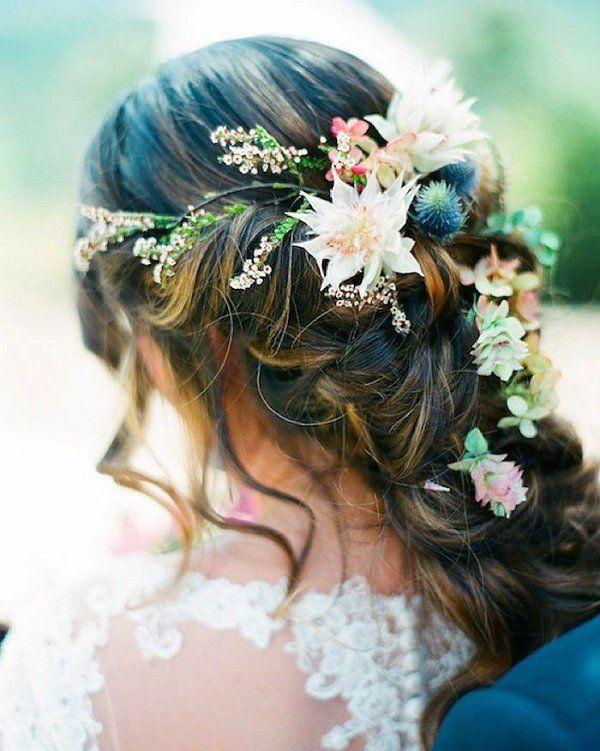 boho wedding hairstyle idea with wildflowers / http://www.deerpearlflowers.com/spring-summer-wedding-hairstyles/