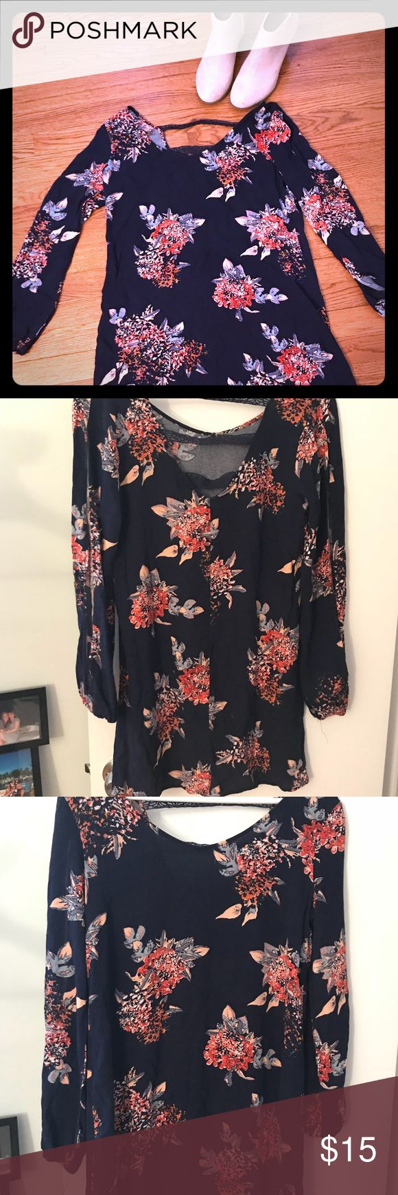 Navy blue mini dress Long sleeved, navy blue with orange and peach floral pattern, somewhat open back Xhilaration Dresses