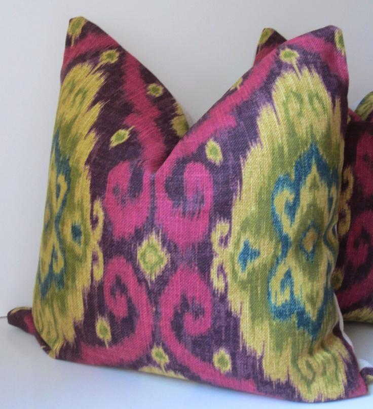 Ikat Pillow   Decorative Pillow   20 Inch   Rhubarb   Fuchsia   Teal    Mustard