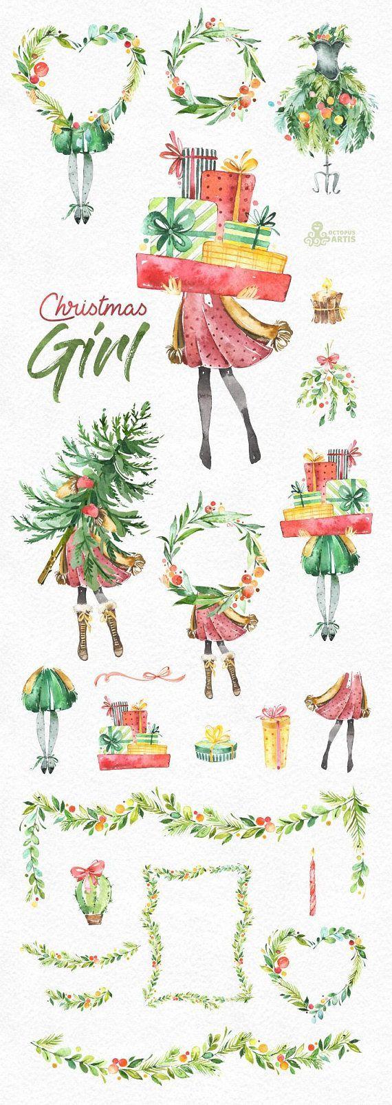 Weihnachtsmädchen. Aquarell Urlaub Clipart, Dame, Vintage, Blumen Kränze, Geschenke, Weihnachtsbaum, Rahmen, Weihnachten, frohe, Stechpalme, Grüße