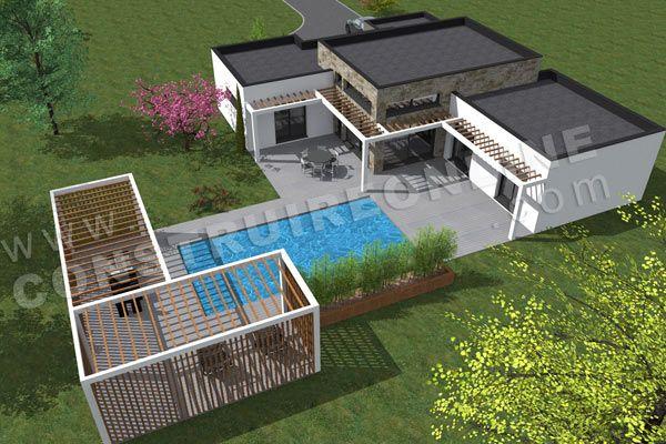 plan maison contemporaine dessus EQUATION
