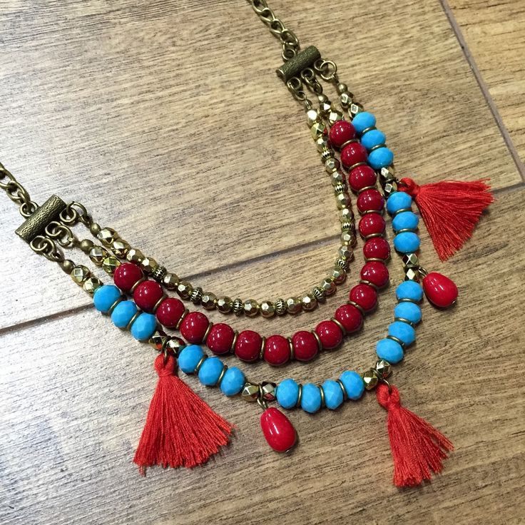 Tassel Necklace, Red & Turquoise Layered necklace, Bohemian Necklace, Statement …