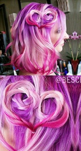 Pink purple dyed hair color @bescene