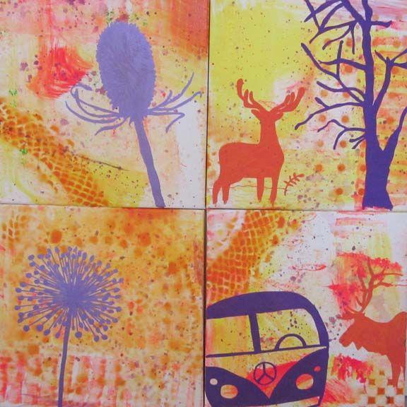 """""""I pagt med naturen"""" mixed media maleri. Akryl og spraymaling på lærred. Serie med 4 stk. på 30x30 cm. Malet af Susanne Randers"""