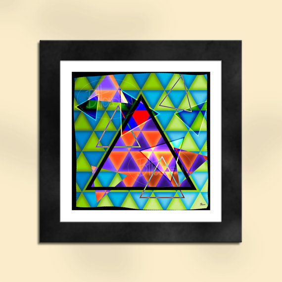 Triangles Abstract Art Print by SapphireMoonArt on Etsy