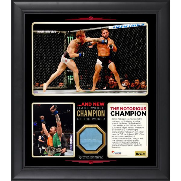 Conor McGregor Ultimate Fighting Championship Fanatics Authentic Framed 15'' x 17'' UFC 189 And New Featherweight Champion Collage with a Piece of Canvas From UFC 189 - $89.99