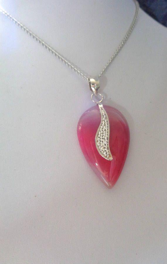 Pink Agate Pendant Necklace Agate Pendant Pink Pendant