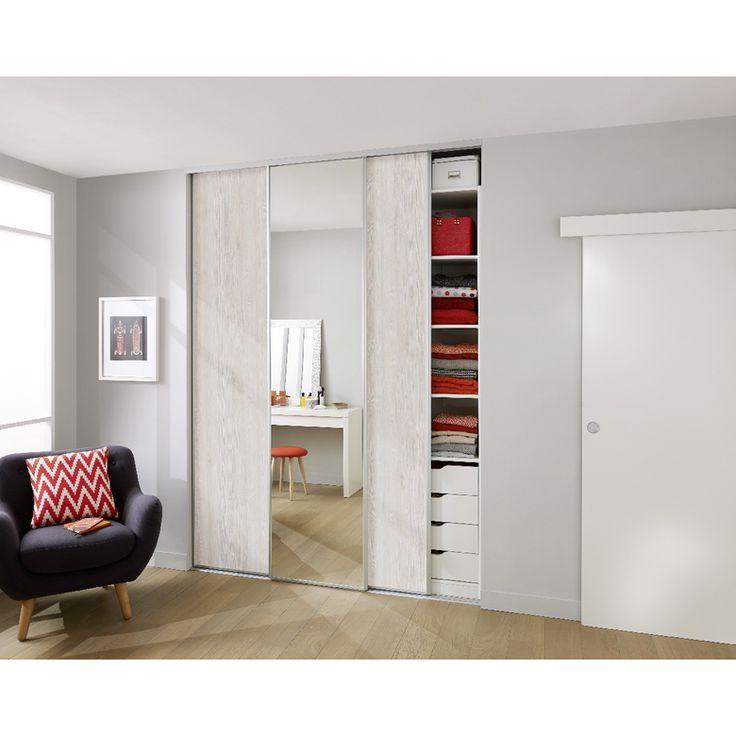 Porte de placard coulissante GLISSEO - Décor bois clair - Rangements