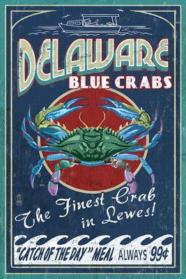 Lewes, Delaware - Blue Crabs Vintage Sign - Lantern Press Poster