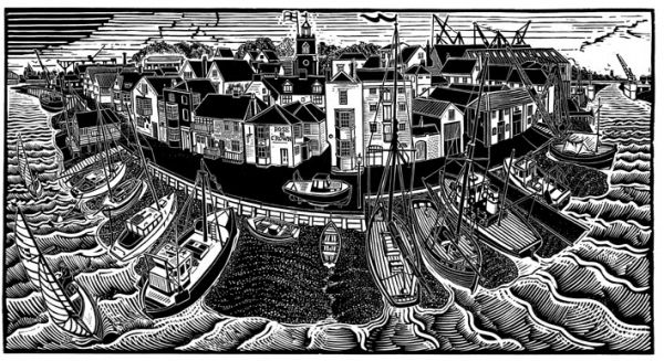 """Wivenhoe, Past and Present"" linocut by James Dodds RCA (b.1957). www.jamesdodds.co.uk Tags: Linocut, Cut, Print, Linoleum, Lino, Carving, Block, Woodcut, Helen Elstone, Sea, Boat, Harbour, Waves, Sky, Town, Buildings, Panorama, Sailing, Sails."