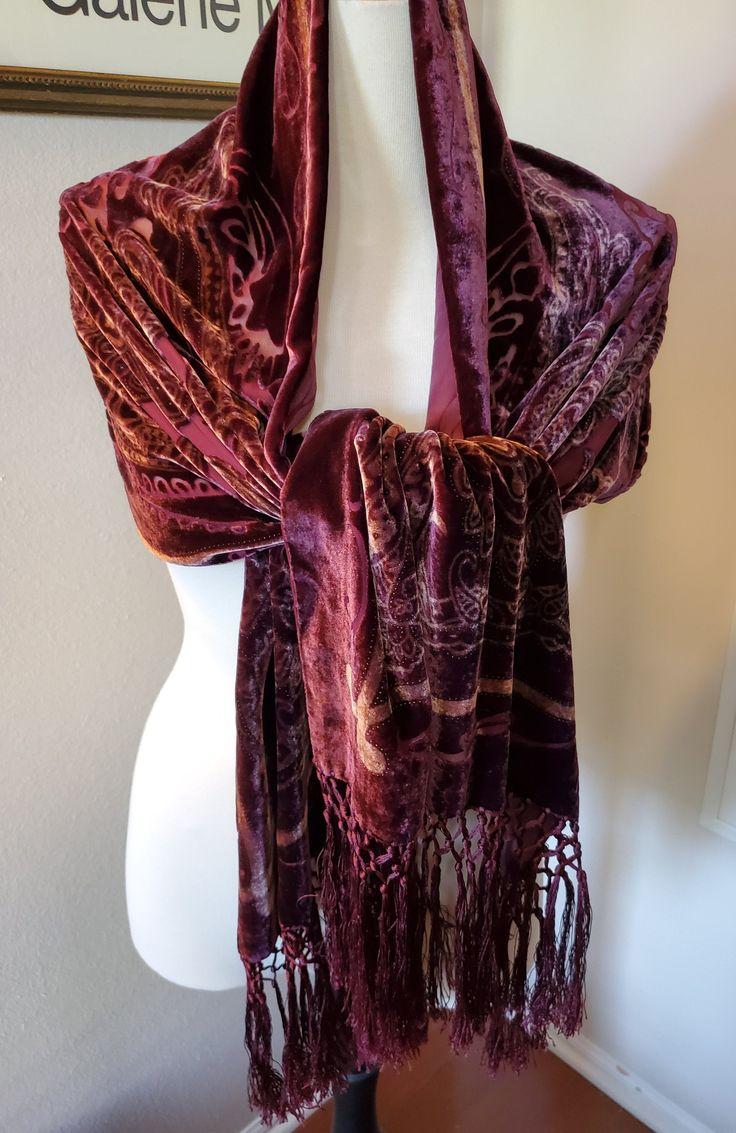 VALERIE STEVENS Velvet Silk Mix Scarf Shawl Wrap Burnout