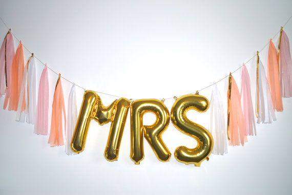 Sale FREE SHIPPING MRS gold letter balloon by StephShivesStudio