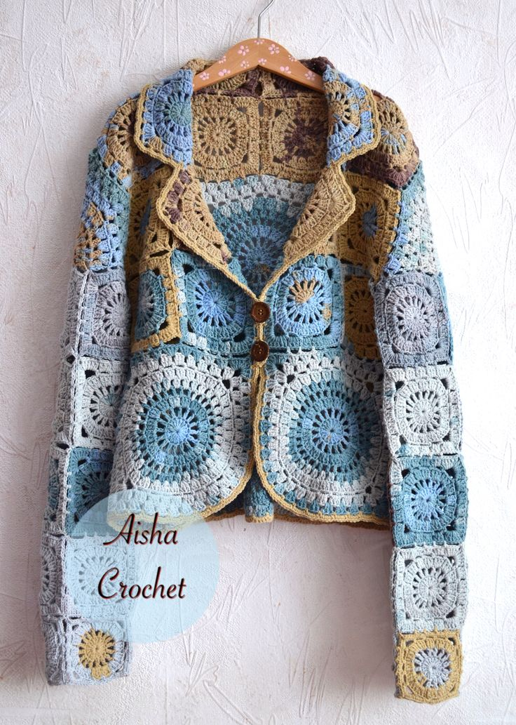 Inspiration for using your small and big granny's. Boho jacket crochet by Aisha Crochet