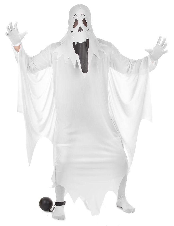 Déguisement fantôme adulte : Ce déguisement de fantôme pour adulte se compose d'une cagoule blanche représentant le visage d'un fantôme qui recouvre entièrement la tête et d'une...