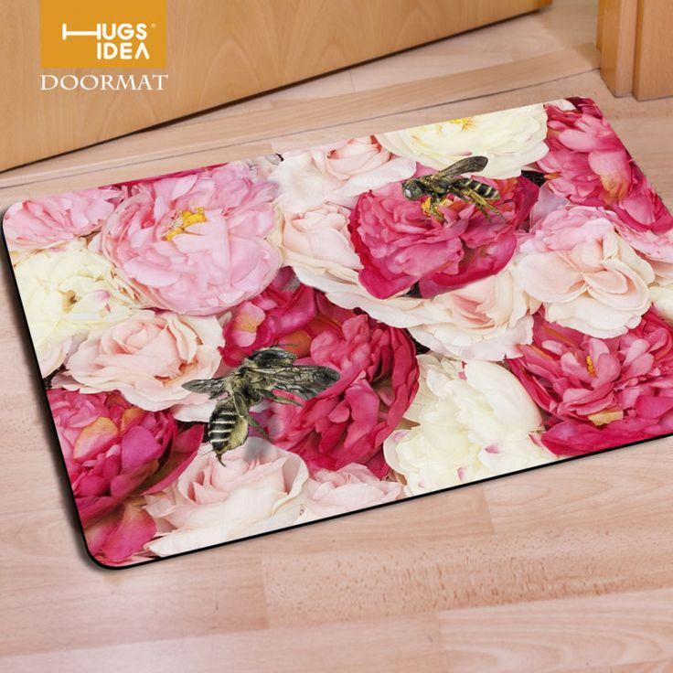 Pink Flower Entrance Doormat Area Floor Rug Bathroom Anti Slip Mat Carpet New