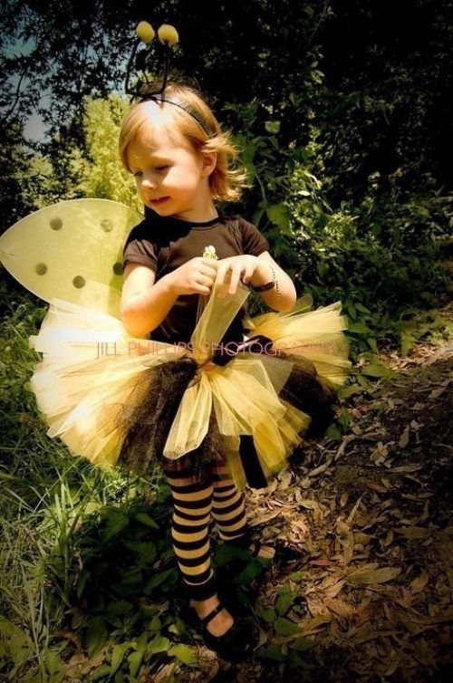 Faschingskostüme Kinder biene schwarz gelb tutu rock